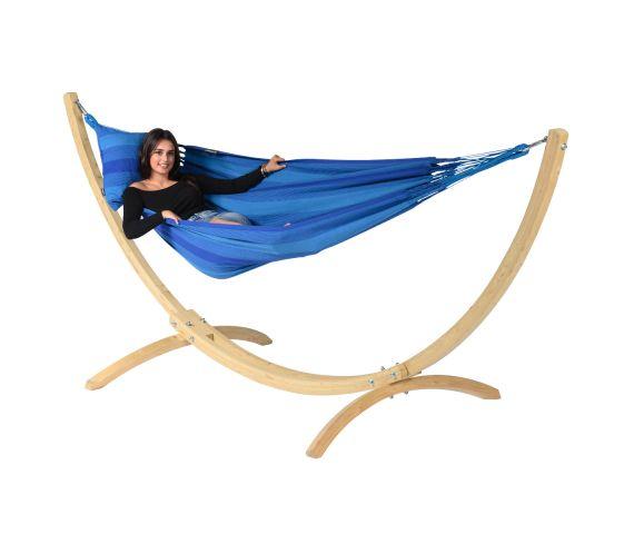 Hængekøje med Enkel Stativ 'Wood & Dream' Blue