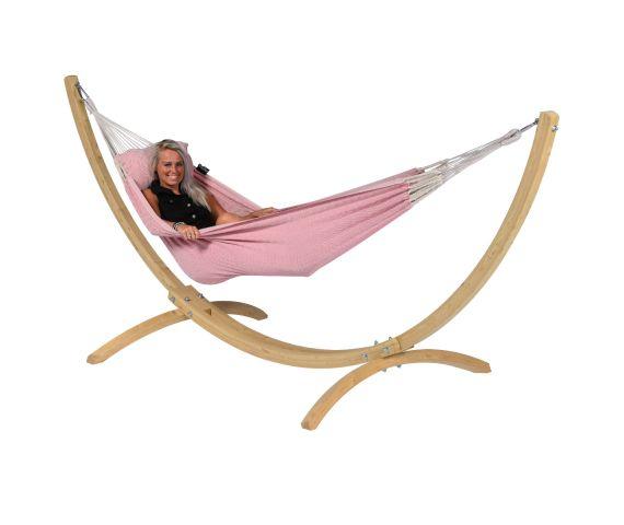 Hængekøje med Enkel Stativ 'Wood & Natural' Pink