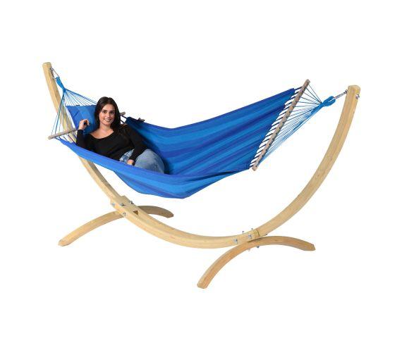 Hængekøje med Enkel Stativ 'Wood & Relax' Blue