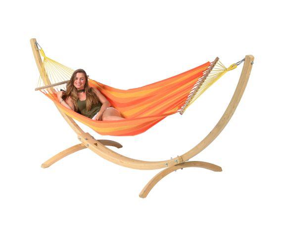 Hængekøje med Enkel Stativ 'Wood & Relax' Orange