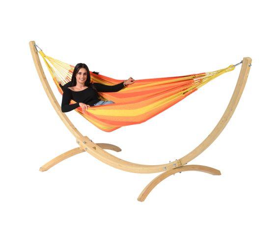Hængekøje med Enkel Stativ 'Wood & Dream' Orange