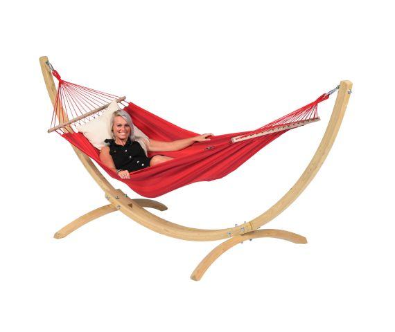 Hængekøje med Enkel Stativ 'Wood & Relax' Red