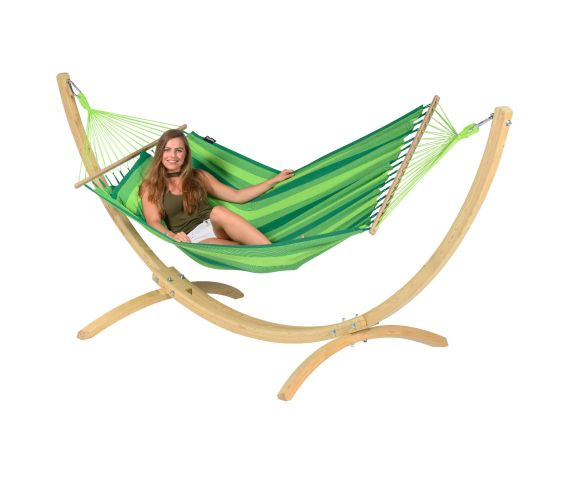 Hængekøje med Enkel Stativ 'Wood & Relax' Green