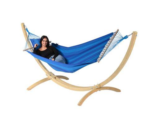 Hængekøje med Enkelt Stativ 'Wood & Relax' Blue