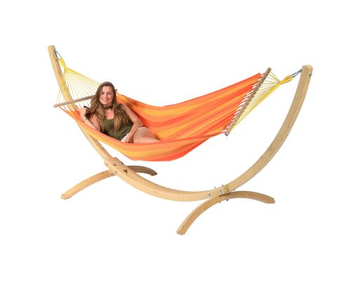 Hængekøje med Enkelt Stativ 'Wood & Relax' Orange