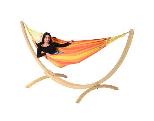 Hængekøje med Enkelt Stativ 'Wood & Dream' Orange