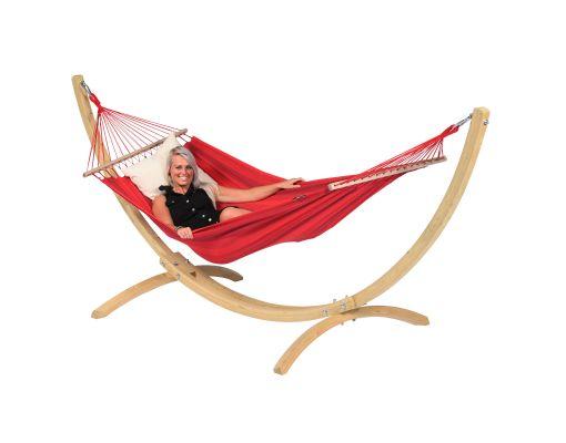 Hængekøje med Enkelt Stativ 'Wood & Relax' Red