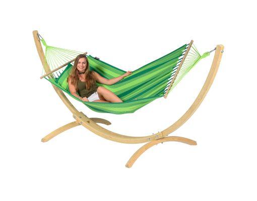 Hængekøje med Enkelt Stativ 'Wood & Relax' Green